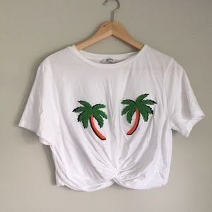 Zara Palm Trees Crop Knotted top Size Large